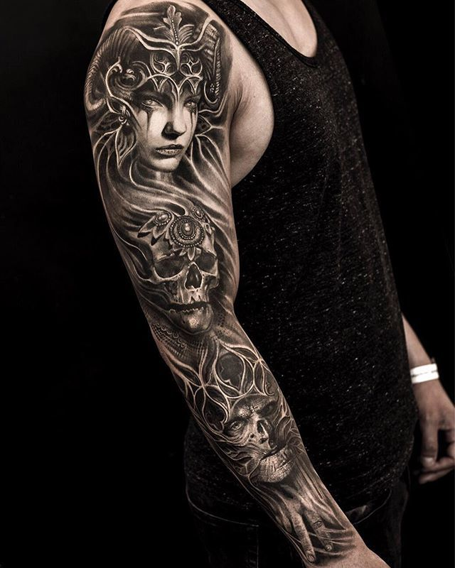 501759d80f72b Stunning black and grey realism sleeve by the legendary Mumia (@mumia916)  from Copenhagen, DK. #STYNG - #realism #realismtattoo #colorrealism ...