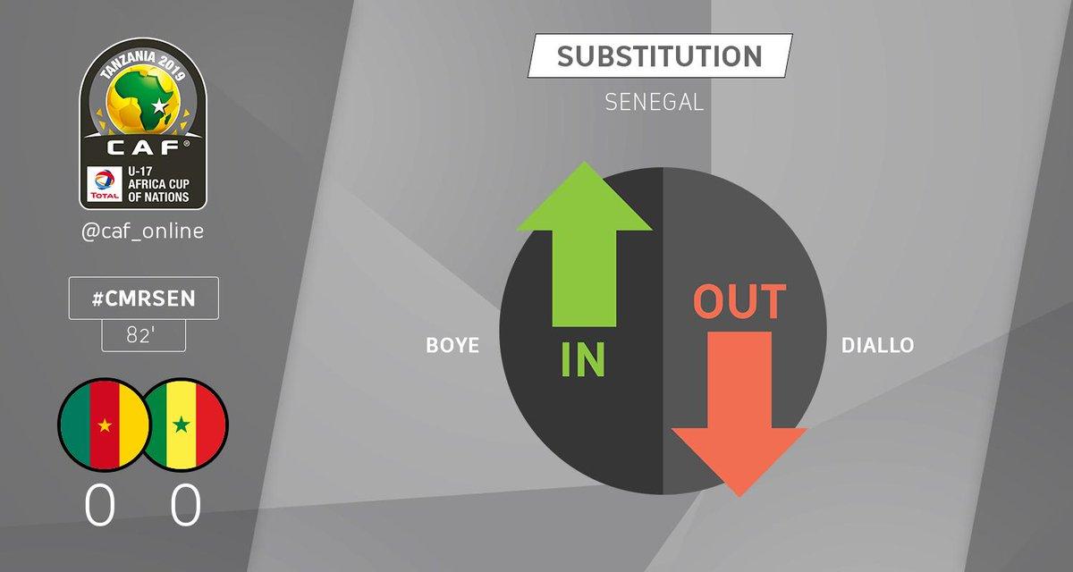 SUBSTITUTION | Senegal: Insa Boye comes in for Samba Diallo  #TotalAFCONU17 #CMRSEN