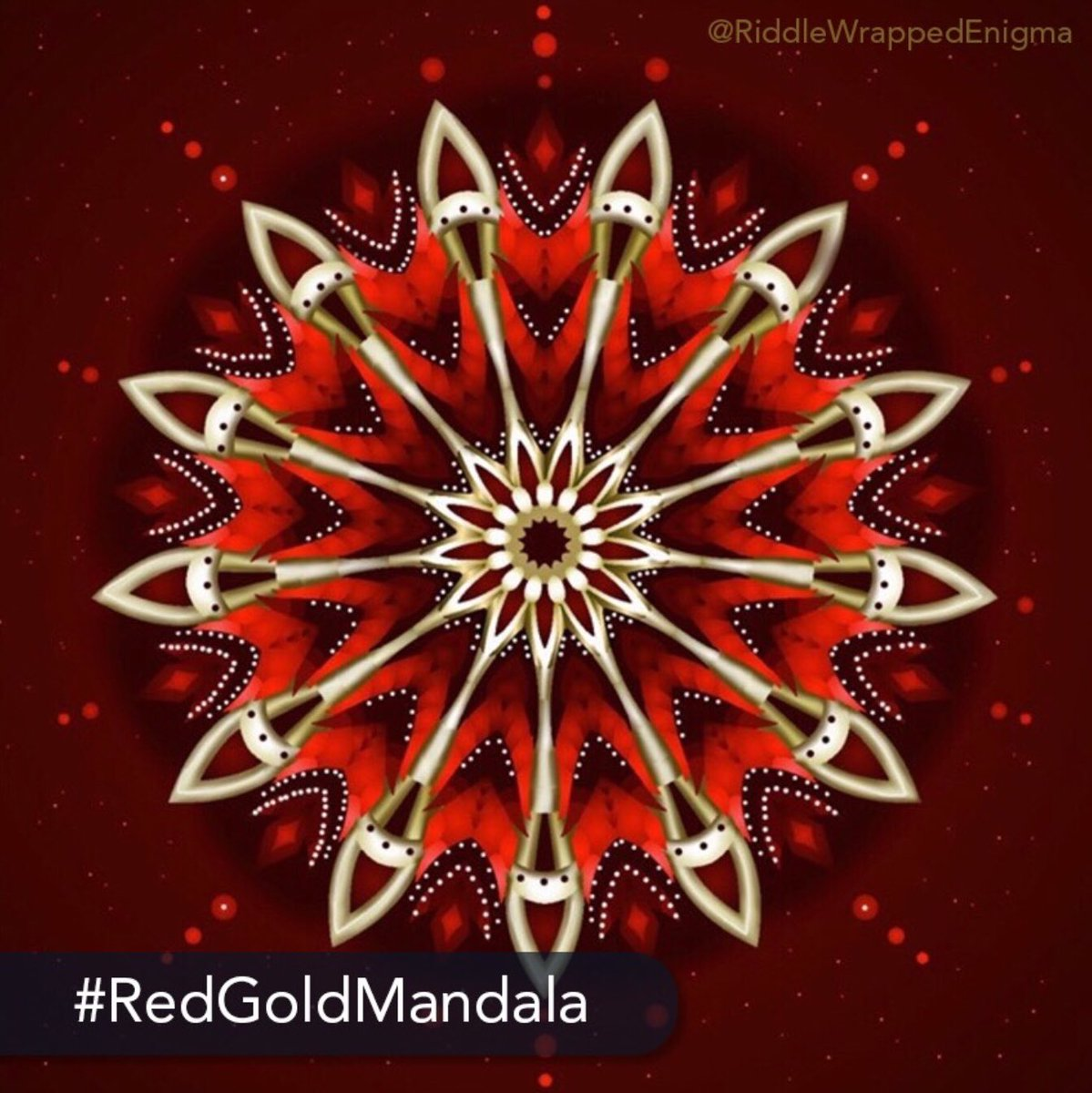 👑 The challenge: Today's #medium #challenge is to #create a #stunning #mandala #masterpiece using only #red and #gold #shades. Start 🎨 coloring with Color Therapy today: http://get.colortherapy.me #color #coloring #coloringbook