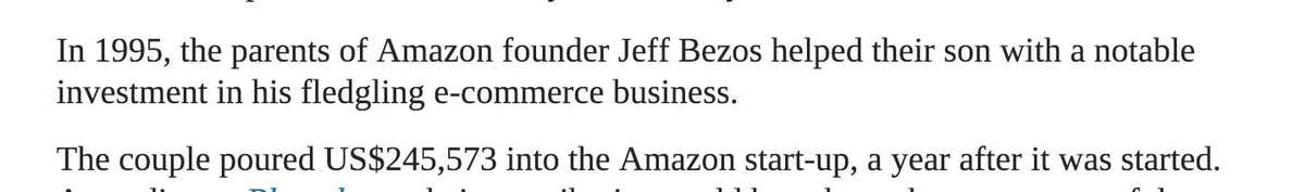 Jeff Bezos&#39; parents lent him $250k to start Amazon <br>http://pic.twitter.com/O4HA9qEVr0