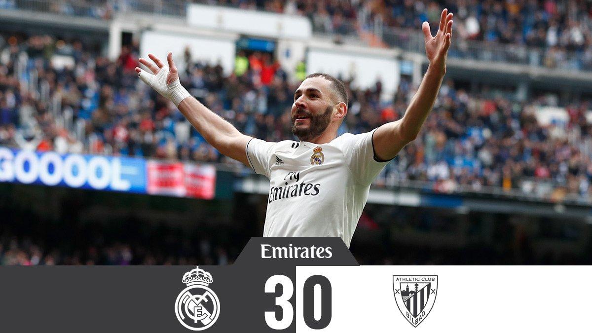 🏁 FP: RealMadrid 3-0 AthleticClub ⚽ Benzema 47', 76', 90' #Emirates   #HalaMadrid