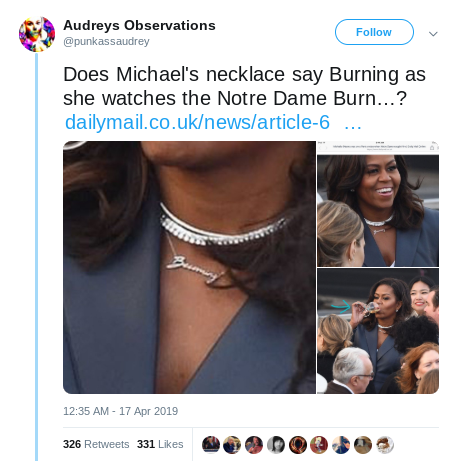 aaaand enter the Q conspiracy theorists.   (fyi: the necklace says &quot;Becoming&quot; .... the name of Michelle Obama&#39;s book). <br>http://pic.twitter.com/yh6QpIxNCR