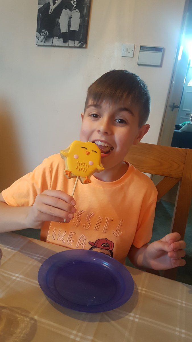 My eldest gave up biscuits for #lent which is quite a big deal because he does love a biscuit! this is his first biscuit for 46 days!