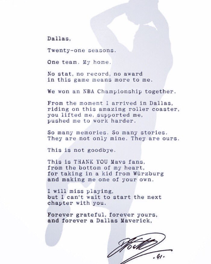 Dirk's letter to Dallas...😢 #dirknowitski #swish41 #dallasmavericks