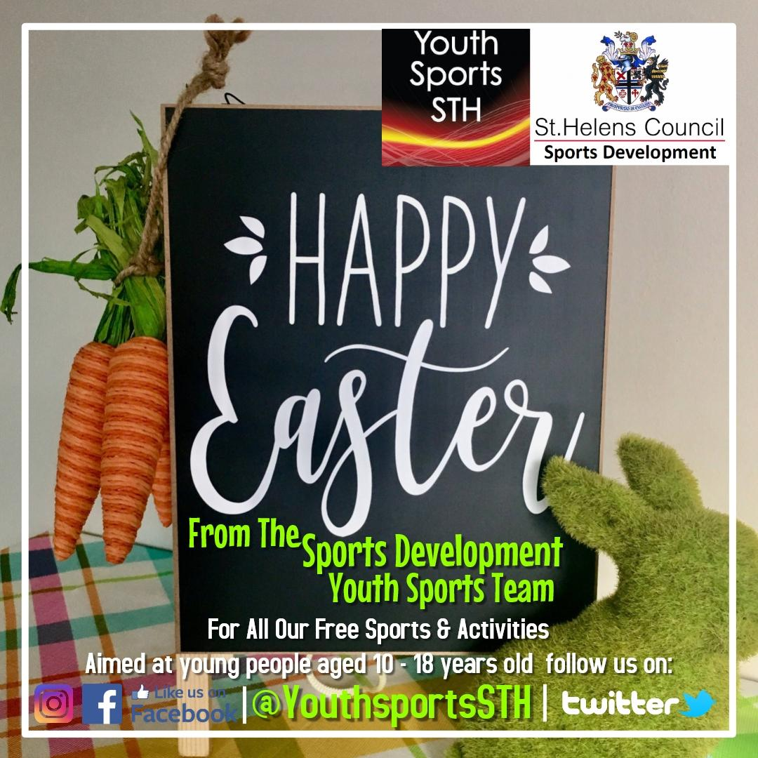 ***Happy Easter*** From the Sports Development Youth Sports Team Delivering Free Sports & Activities  Aimed at young people aged 10 - 18 years old Make the most of your #Eastersunday Dont forget we are closed tomorrow for the bank holiday #Sthelens #Free #Youth #whynot #Easter