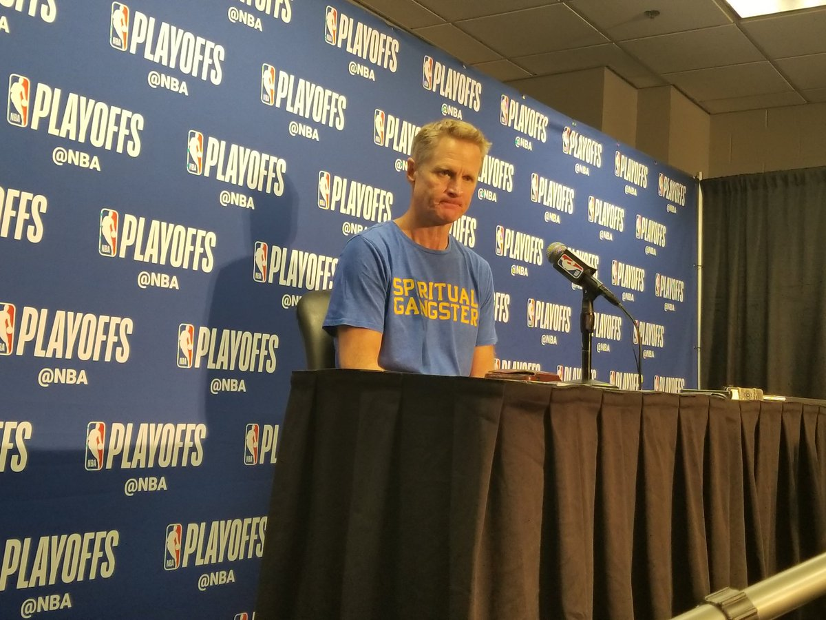 """Steve Kerr is wearing a shirt that says """"Spiritual Gangster"""" and I'm all for it. #Clippers #Warriors"""