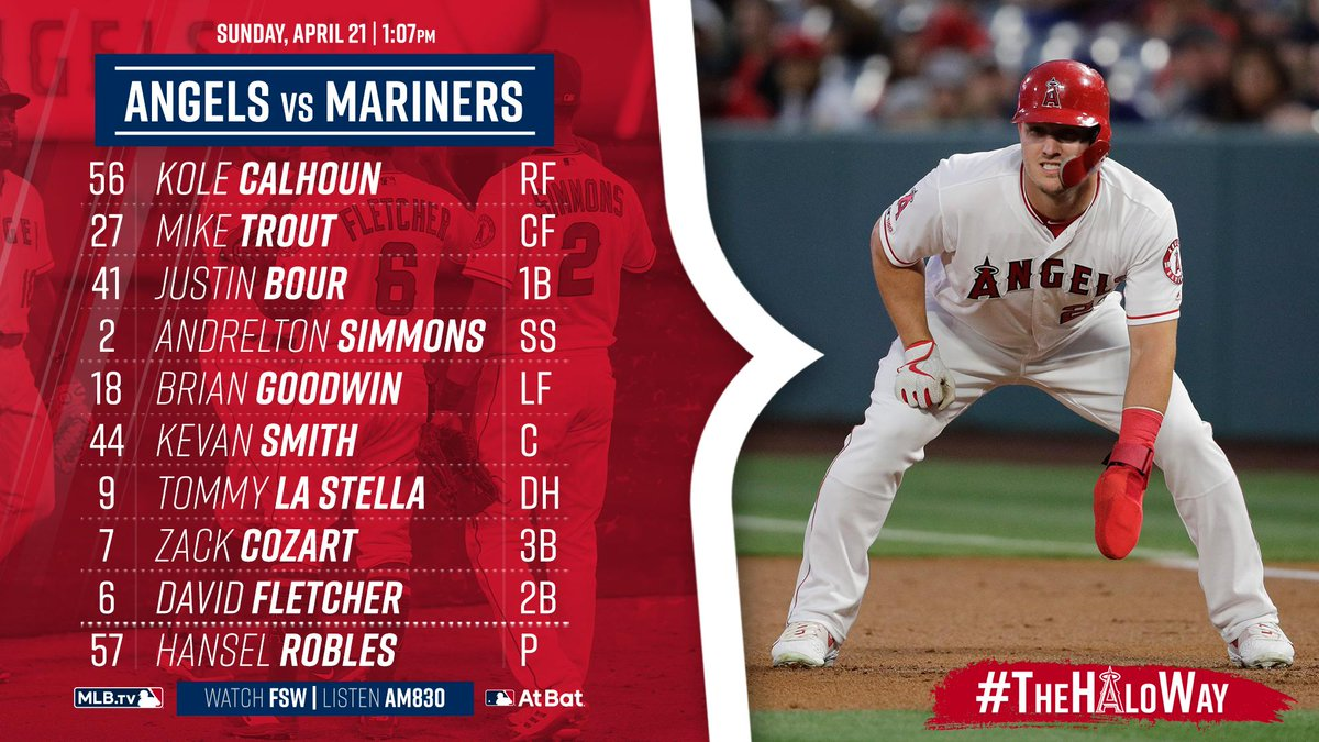Today's lineup vs. Seattle. Hansel Robles is the opener. First pitch at 1:07pm.  Game Preview » https://atmlb.com/2IKpHTm