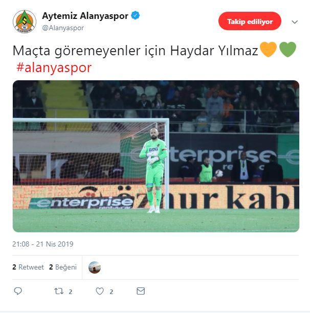 Alanyaspor'dan Fenerbahçe'ye Haydar göndermesi