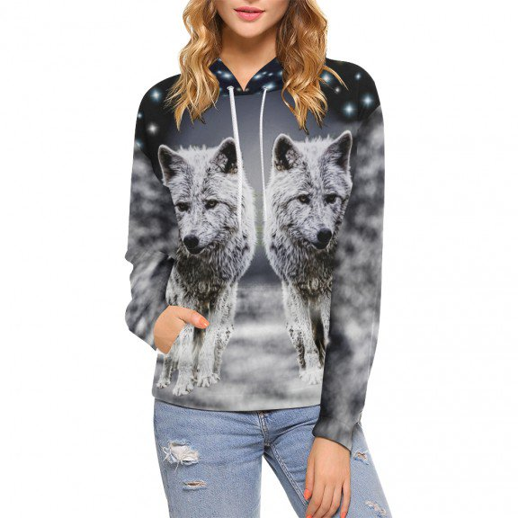 Check out this product moonshine wolf womans hoodie Women's All Over Print Hoodie (USA Size) ... and get yourself something new #animals #womensfashion #women'sfullgraphichoodie #newproduct
