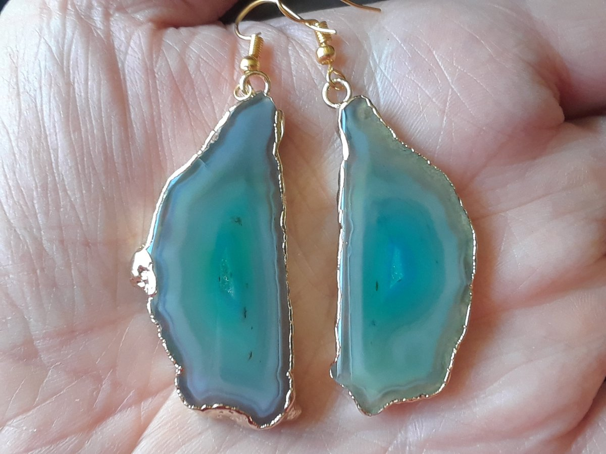 Excited to share the latest addition to my #etsy shop: Aqua Agate & Gold Plated Earrings, Geode Slice Earrings, Gold Electroplated Earrings, Spring Jewelry, Mother's day jewelry https://etsy.me/2VeXTNw #jewelry #earrings #green #quartz #women #stone #earlobe #greenagat