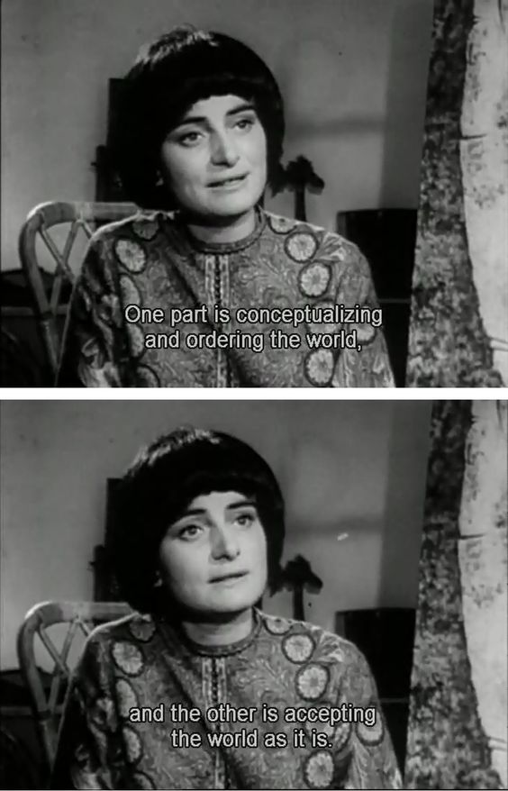 CINE?MA:  &quot;One part is conceptualising and ordering the world, and the other is accepting the world as it is.&quot;  - Agnes Varda.  #RIP<br>http://pic.twitter.com/jNIdUF9nlr