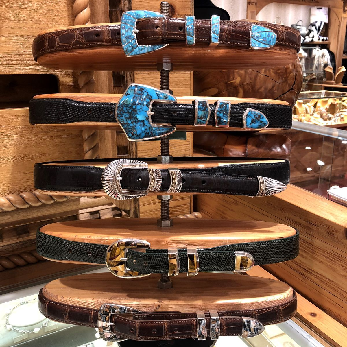 A look at some very cool 😎 belts and ranger sets at Mavericks! Turquoise, Tiger's eye and more! 👏 Happy Easter y'all! . . #easter #belts #rangerset #beltbuckle #buckle #leather #turquoise #tigerseye #silver #cowboy #cowgirl #accessories #santafe #mavericks #santafemavericks