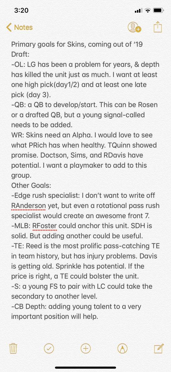 My Goals for #Redskins in #NFLDraft: