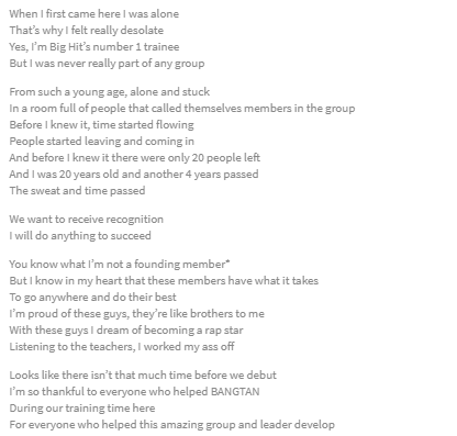 some of yall have never read the lyrics to Namjoon&#39;s 3rd freestyle oof prepare to cry ow #PersonaBillboardNo1 <br>http://pic.twitter.com/q0LgQ1k80b