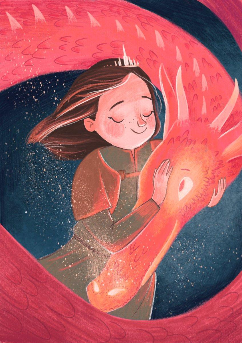 A girl and her dragon #kidlitart #illustration #princess #dragon<br>http://pic.twitter.com/vjqK6o34Sv