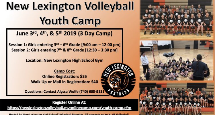 New Lexington Volleyball Youth Camp - June 3-5 🧡🐾🏐 I promise you don't want to miss this camp! Register at …https://newlexingtonvolleyball.myonlinecamp.com/youth-camp.cfm  #NewLexWay #YouthAreTheFuture