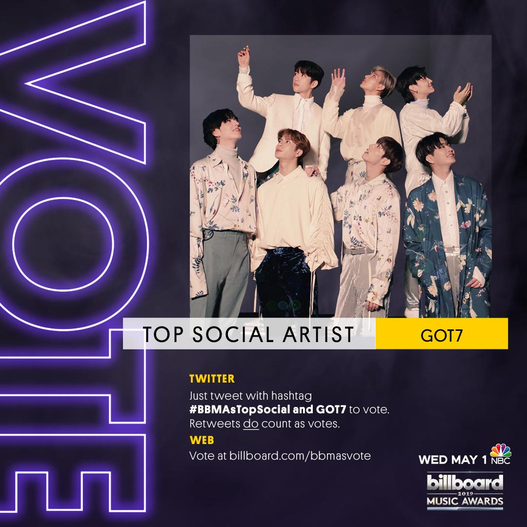 @GOT7Official RT to vote for GOT7 for #BBMAsTopSocial!