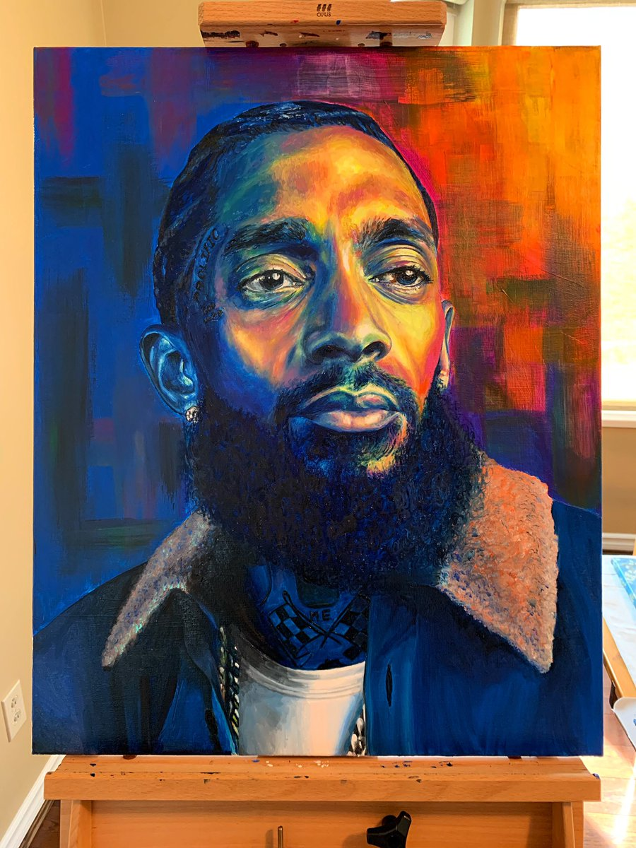 The Marathon Continues  RIP @NipseyHussle oil paint on canvas <br>http://pic.twitter.com/r1Cn06sabw