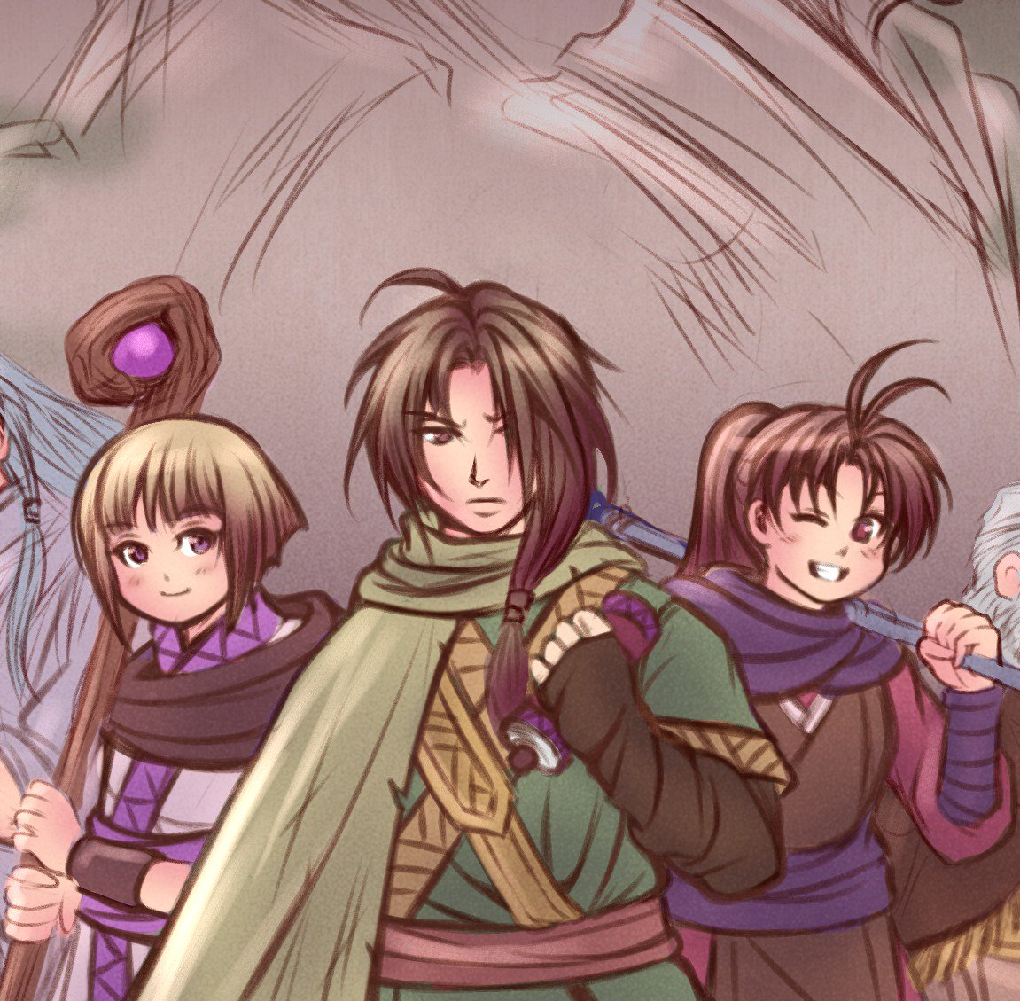 Legend of Izumo. Work in progress #2  I&#39;m on fire! As for this illustration, I thought since it&#39;s about the Izumo quest in #GoldenSun TLA (my favorite arc!) it might add a nice touch to our heroes to wear some traditional japanese looking clothes. #黄金の太陽<br>http://pic.twitter.com/tGvYN2tqPN