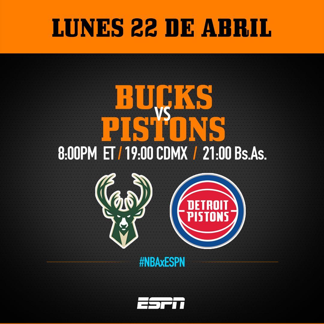 Lunes de playoffs de #NBAxESPN LatAm: @Bucks - @DetroitPistons junto al @CoachCMorales. Hora/canal: http://guia.espn.com. @NBALatAm @NBAMEX @NBASpain @NBABrasil @ESPNDeportes @ESPNmx @ESPN_CA @ESPNArgentina @ESPNColombia @ESPNChile @SportsCenter_nt @SC_ESPN @ESPNDRadio
