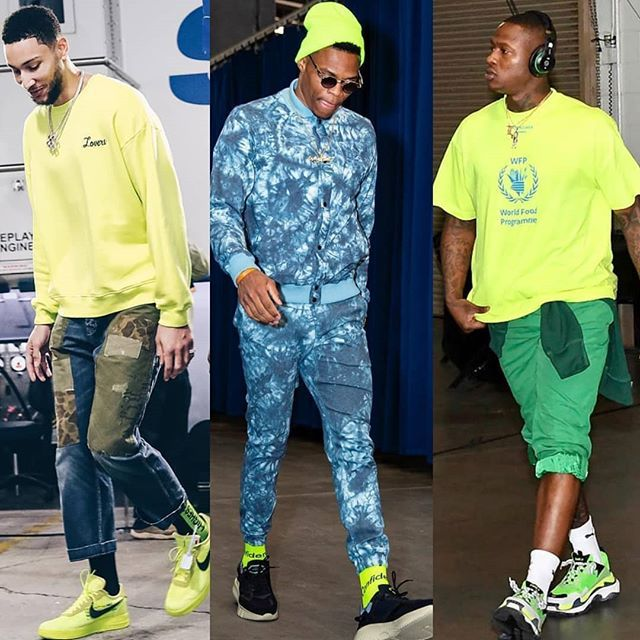 👀👀STRIKING Neon hues have been a #NBA Post-Season trend thus far. Thoughts? 🤔🤔 #Morethanstats #NBAPlayoffs #Bensimmons #RussellWestbrook #TerryRozier http://bit.ly/2ZzGn62