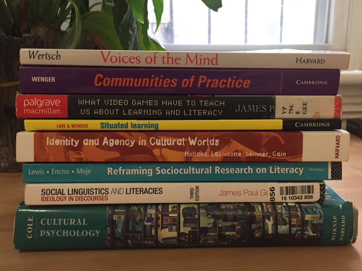 I'm thinking through sociocultural theories of literacies as I write my final papers. Thanks to @wargojon for organizing and guiding me through this material for our independent study.