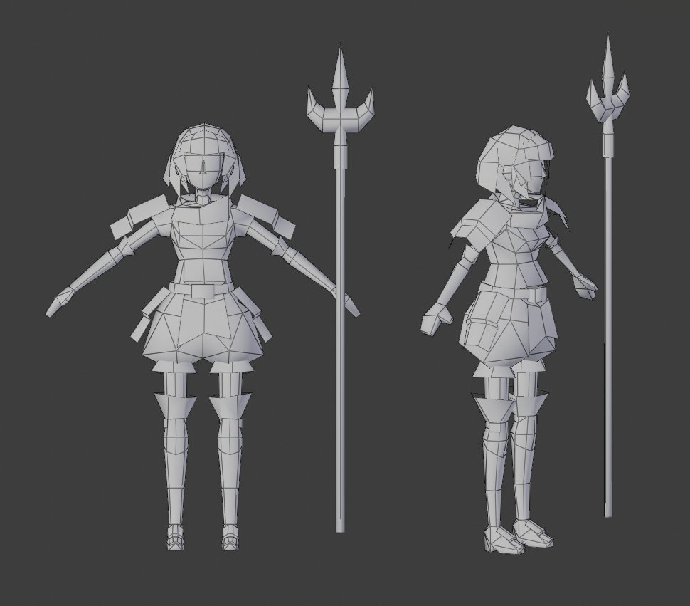 Here&#39;s the wireframe. There are 912 tris, included the spear.  #lowpoly #Blender3d <br>http://pic.twitter.com/GTrO9Kz6kv