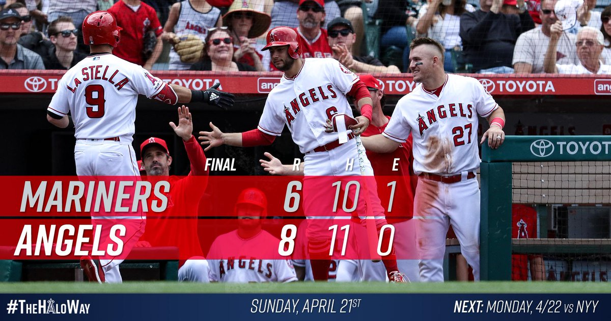 #HaloRecap: La Stella goes yard twice, Simmons extends hit streak to seven games in Angels victory over Mariners.  Box » https://atmlb.com/2IRvCpP
