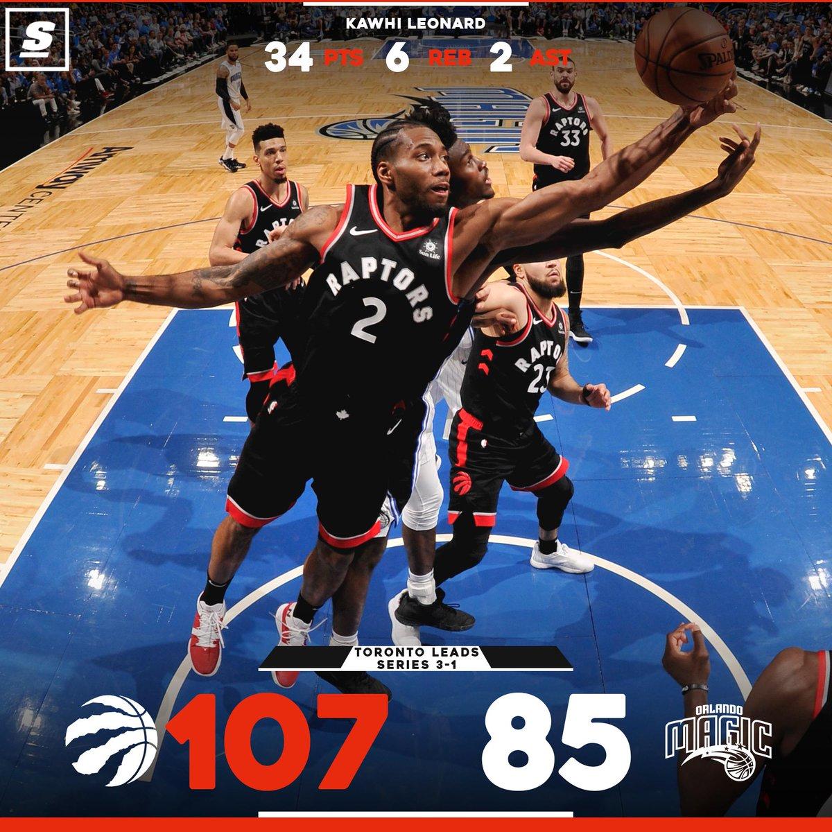 #NBA  Los #Raptors están a una victoria de llegar a la 2da ronda. Le ganaron a los #Magic con un gran juego de #KawhiLeonard con 34 pts, 6 reb, 2 ast. #NBAPlayoffs  #Raptors #Magic #OnTimeDeportes