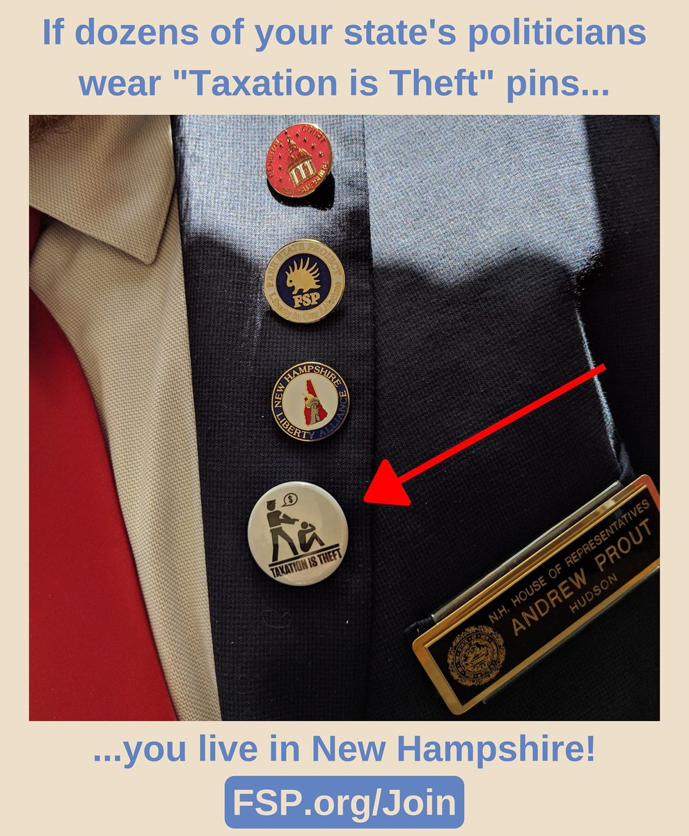 Yes, this actually happened. Yes, #NewHampshire is actually this cool   Dozens of NH politicians wore pins like this on the day they voted &quot;no&quot; on the state budget.  #TaxationIsTheft <br>http://pic.twitter.com/bLOmBKJCiL
