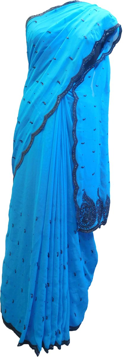 SMSAREE Blue Designer Wedding Partywear Georgette Thread & Stone Hand Embroidery Work Bridal Saree Sari With Blouse Piece F044 http://bit.ly/2EHyOCg #smsaree #sale #designer #festival #PartyWear