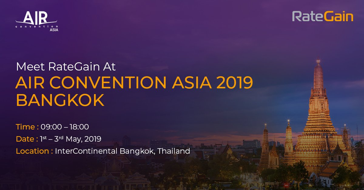 #MeetRateGain at Air Convention Asia 2019, Bangkok. Meet our experts Shweta vashishth & Amit Vadhera to know how our solutions can help you drive maximum revenue. Schedule a meeting at https://bit.ly/2ICufLf #traveltech #Airtech #Aerotime #AviationCV #AirConventionAsia