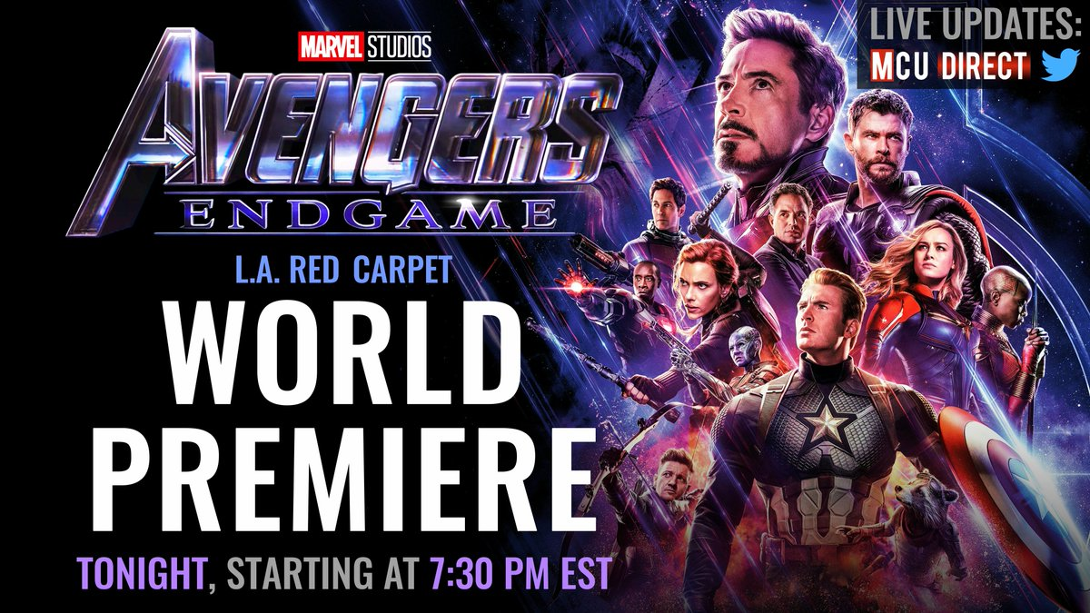 The world premiere of #AvengersEndgame  is tonight!  We&#39;ll provide all the latest photos and updates from the red carpet right here on @MCU_Direct.<br>http://pic.twitter.com/EuHs3hbNWK