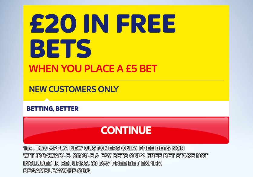 This boost is only available at SkyBet! Bet £5 & get £20 FREE BETS when you join them today here >>> footy.ac/SkyBet5get20FR… New Customer Offer T&Cs apply 18+ begambleaware.org