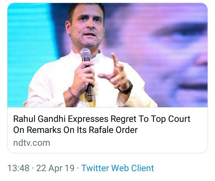 Out on bail Chor @RahulGandhi expresses regret in Supreme Court for lying to the nation about Supreme Court verdict on Rafale Deal saying &quot;Chowkidar Chor Hai&quot;.   Shameless liar lies in front of us everyday then goes to the court and apologizes. #CongAdmitsJhoot #RahulApologizes<br>http://pic.twitter.com/Kmr1hhzuKL