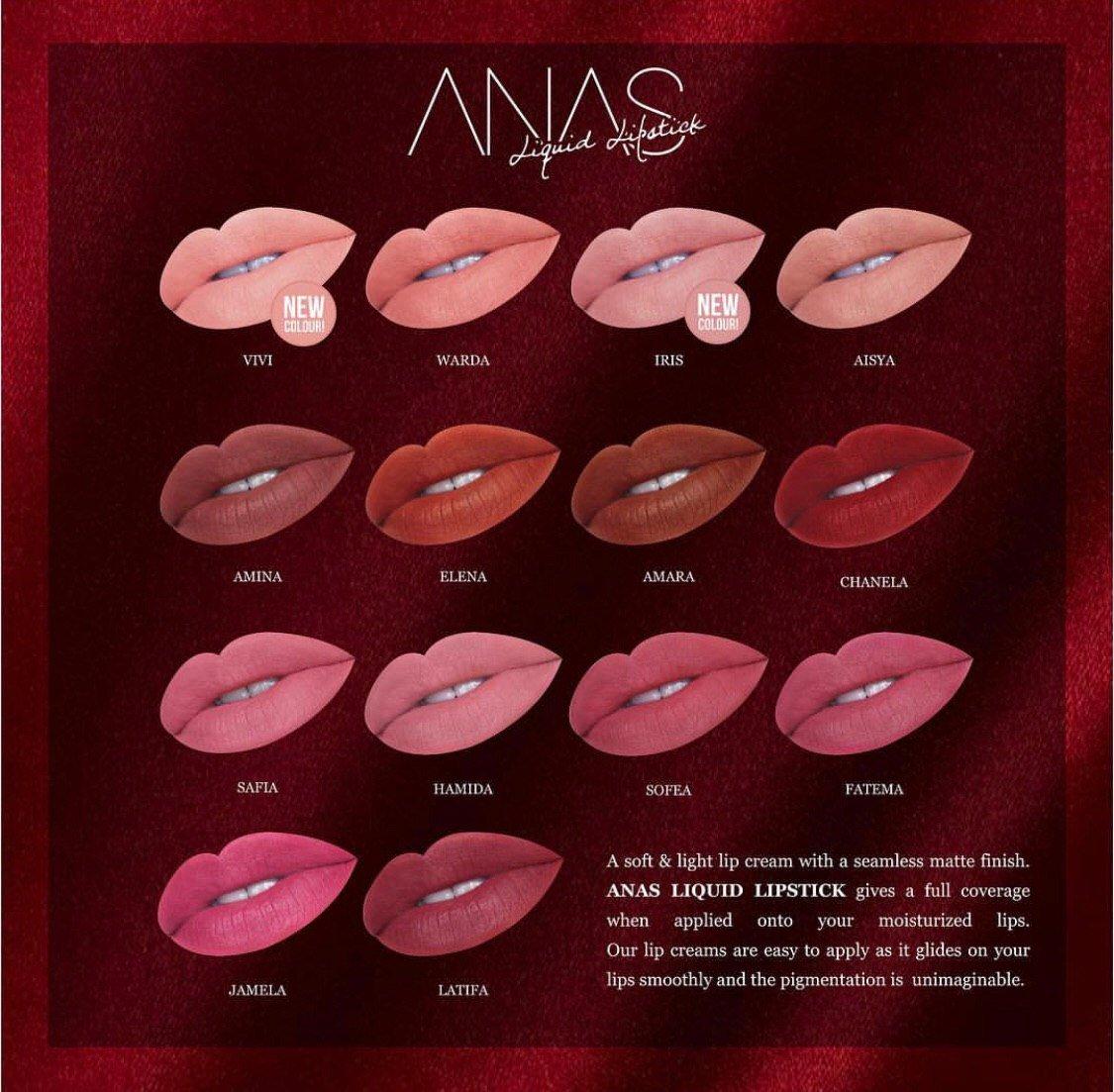 For girls yang suka makeup mesti kena dapatkan Anas Liquid Lipstick, ada 14 jenis colour and harga pun cuma RM39. Jom Beli !! #ANASism  Kalau nak beli boleh ke http://www.anasism.com ataupun kalau yang duduk area kl & selangor  boleh direct terus dengan https://api.whatsapp.com/send?phone=601164591343&text=…