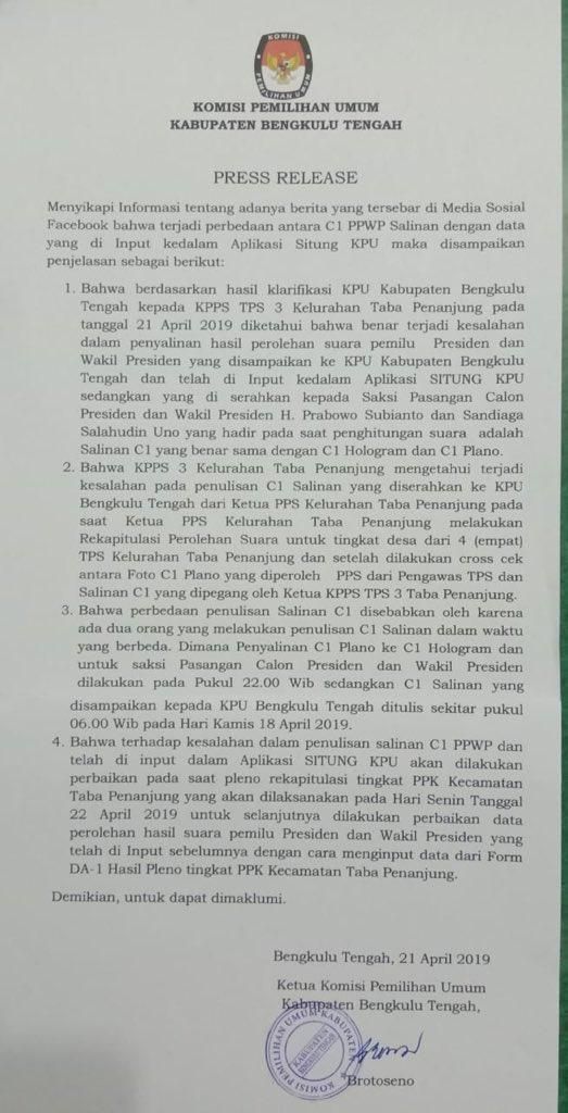 Kroscek kanan-kiri kami dapat juga penjelasan berikut melalui @netgrit yang menanyakan ke KPUD Bengkulu.