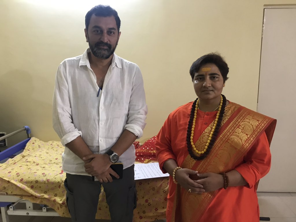 Just met Pragya Thakur. Says she is on 'maun vrat' till the afternoon. Self-imposed, or gag order from the top? @OnReality_Check
