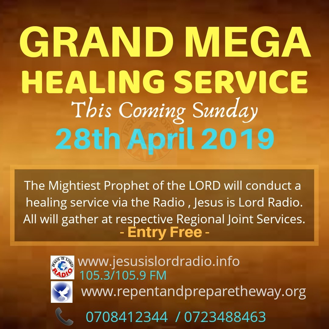 Welcome all for #UniqueHealingAnointing at central Park Nairobi healing service please bring the sick and GOD will heal them through the decree of The Mightiest Prophets So Jesushealedmany people who were sick with various diseases,and he cast out many demons. Mark 1:34