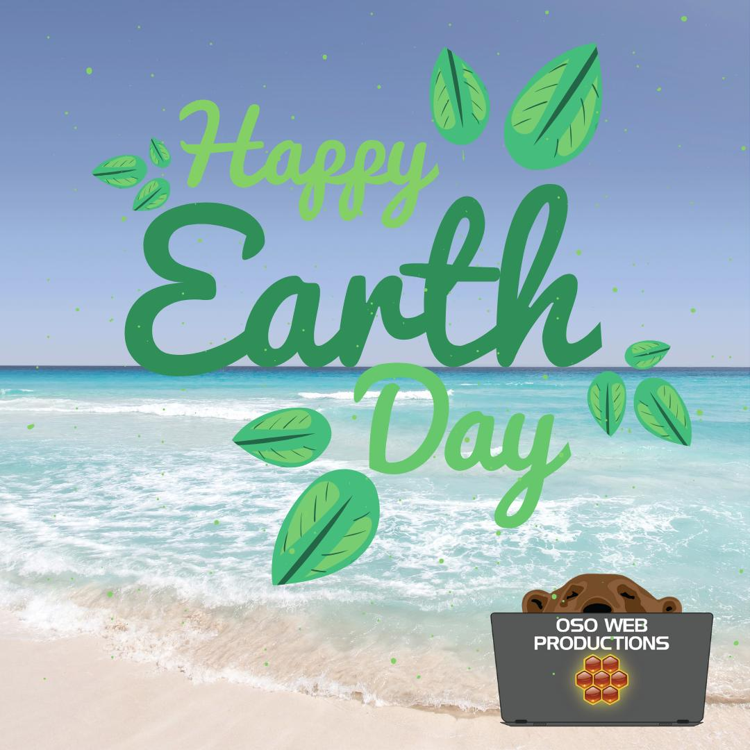 Earth day post with beautiful beach photo you can see the waves and sand