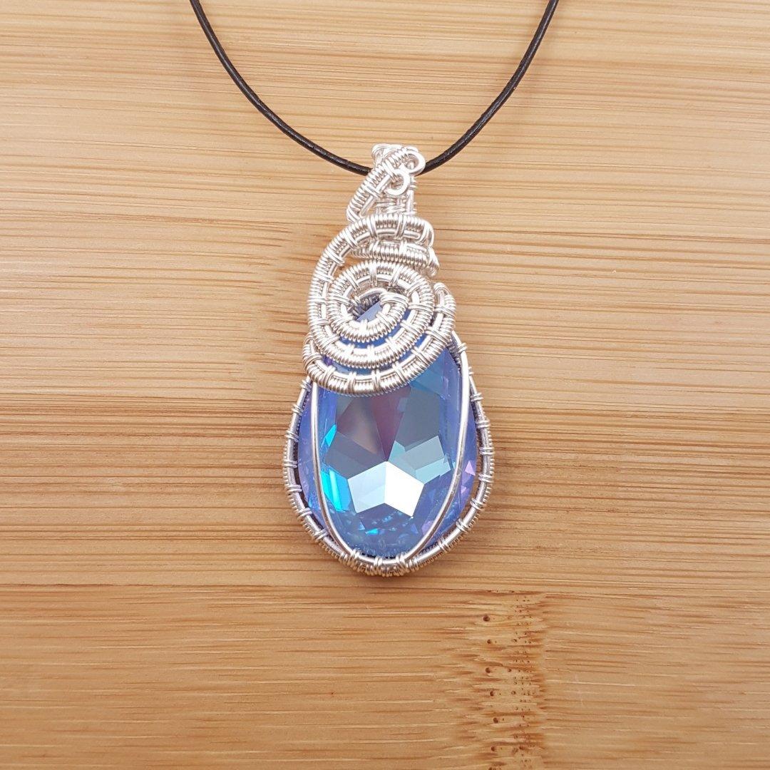 Blue-Purple Swarovski pear drop wrapped in silver wire
