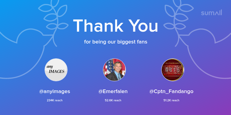 Our biggest fans this week: @anyimages, @Emerfalen, @Cptn_Fandango. Thank you! via  https:// sumall.com/thankyou?utm_s ource=twitter&utm_medium=publishing&utm_campaign=thank_you_tweet&utm_content=text_and_media&utm_term=3fb5fd30e3a6a8cced1bc4d5   … <br>http://pic.twitter.com/WBljqSFAMg