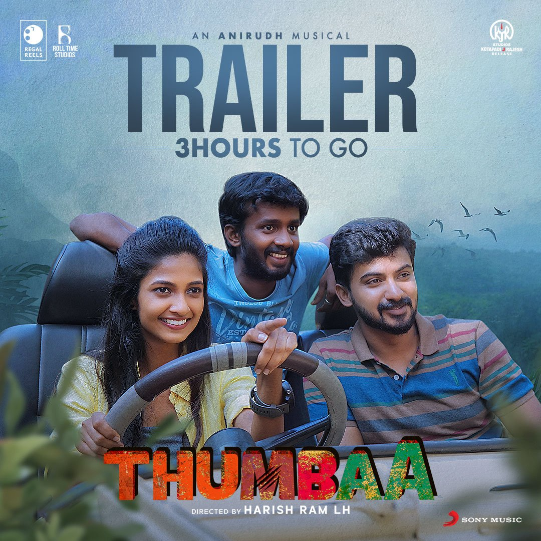Only 3 hours to go for India's biggest live action experience! #ThumbaaTrailer will be out at 5PM today! Stay tuned 🐯  @harishramlh @Darshan_Offl @ikeerthipandian @ActDheena @kjr_studios @rolltimestudios @RegalReels