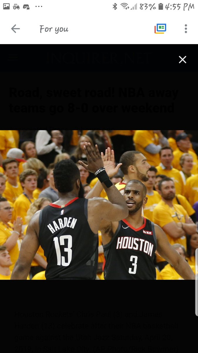 Road, sweet road! NBA away teams go 8-0 over weekend Houston Rockets' Chris Paul (3) and James Harden (13) celebrate after their NBA basketball game against the Utah Jazz Saturday, April 20, 2019, in Salt Lake City. (AP Photo/Rick Bowmer) https://t.co/5kpj6TCfDZ