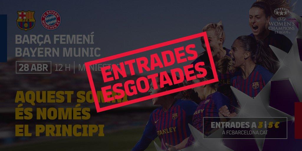 🙌 SOLD-OUT!  🙌 HO HEU TORNAT A FER! Exhaurides les entrades per al Barça-Bayern ▶ http://ow.ly/x4AL30ouSps   🙌 ¡LO HABÉIS VUELTO A HACER! Agotadas las entradas para la vuelta de las semifinales de la @UWCL en el Miniestadi ▶ http://ow.ly/c5Zw30ouSpt   #FCBFemeni #ForçaBarça