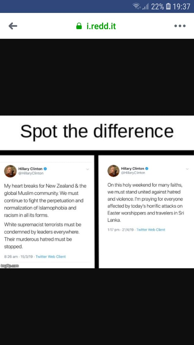 Spot the difference between Hillary&#39;s  response to Newzealand terror as Islamophobia and White Supremacism and Srilankan terror without mentioning the perpetrators name. If this is the Democrats&#39; view, either they are finished in Trump&#39;s US or of they come to power US is finished <br>http://pic.twitter.com/NBQGkLy976