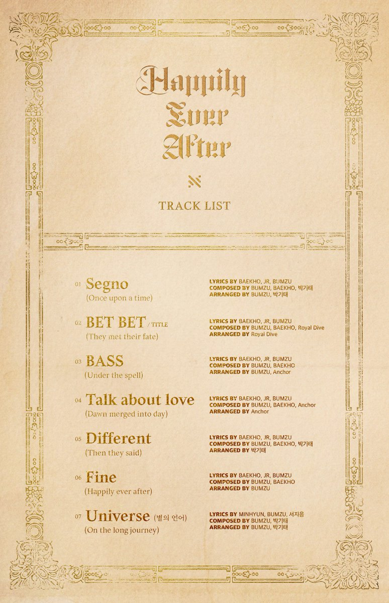 NU'EST 'Happily Ever After' TRACK LIST #뉴이스트_JR_Aron_백호_민현_렌 #NUEST #Happily_Ever_After #BET_BET #20190429_6PM