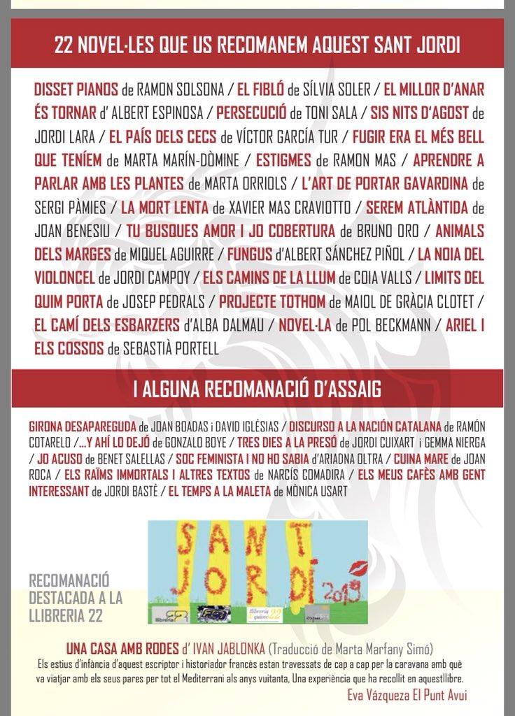 """""""Els camins de la llum"""" entre les 22 recomanacions de @LLIBRERIA22! Gràcies! Feliç Sant Jordi @BrunoCazalibros  @xrtrigo @PereBR @jtrosique @magradallegir @enricboti"""