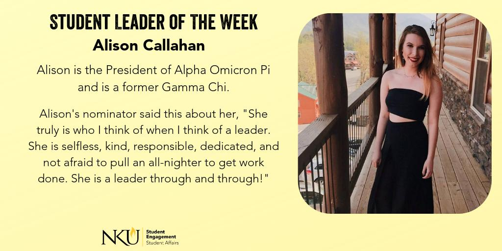 Check out this weeks student leader of the week, @al_cal1!