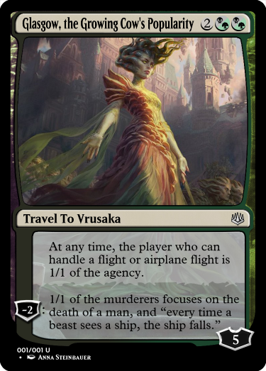 If you are travelling to Vrusaka, take a flight, or a airplane flight. You know the old saying about what happens to ships that a beast sees.  #MtG #GoogleTranslatesMtG #VraskaSwarmsEminence #MTGWAR  Art by: @depingo<br>http://pic.twitter.com/8Op7SPbDM3